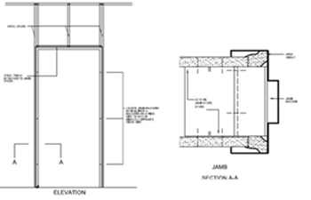 this is a detail of a medium size door frame in a non structural interior wall download dwg pdf